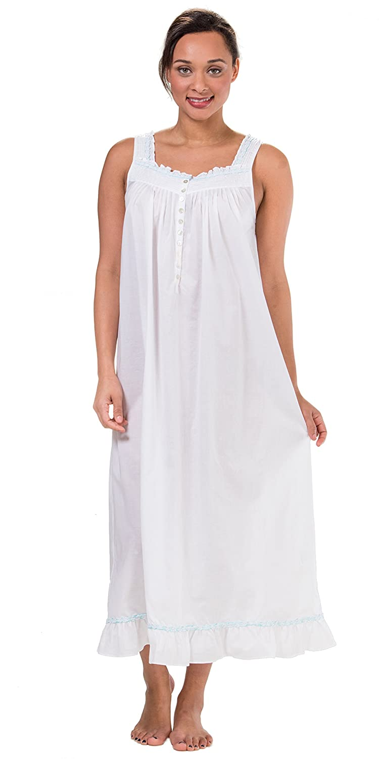 Eileen West Cotton Lawn Sleeveless Ballet Nightgown In White Tropic ...