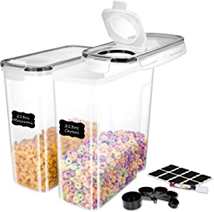 ME.FAN EXTRA LARGE Cereal Storage Containers [Set of 2] Airtight Food Storage Containers 6.3L(213oz) - Large Kitchen Storage Keeper with 24 Chalkboard Labels & Pen - Easy Pouring Lid (Black)