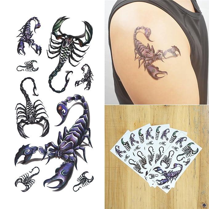 COKOHAPPY 3D Temporales Tatuaje 5 hoja 3D Escorpión Long Lasting ...