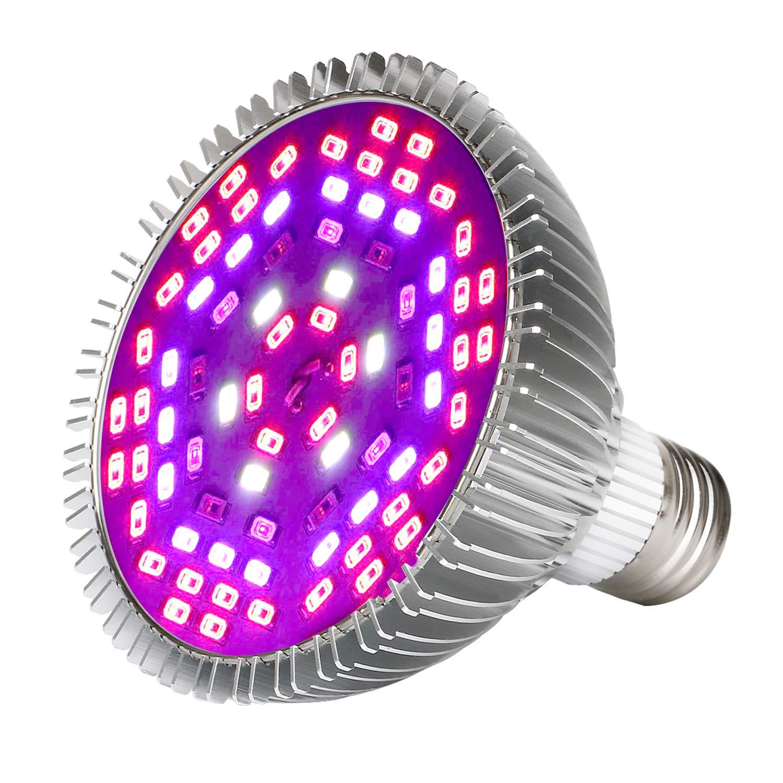 50W Led Grow Light Bulb, Led Plant Bulb Full Spectrum Grow Lights for Indoor Plants Vegetables and Seedlings, LED Plant Light Bulb for Hydroponics Indoor Garden Greenhouse and Organic Soil (E26 78LED