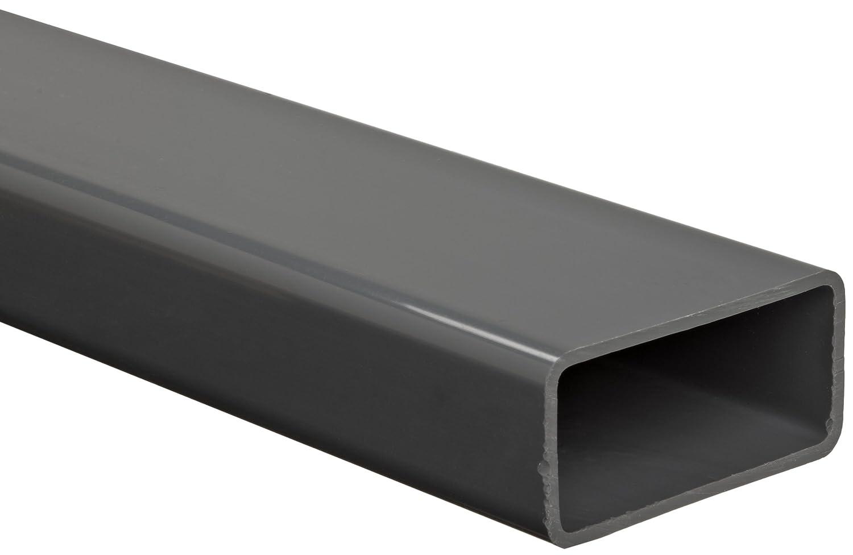 """PVC-Hollow Rectangular Bar, Gray, NSF 61, 3.346"""" X 1-3/8"""", 0.098"""" Wall , 12"""" Length"""