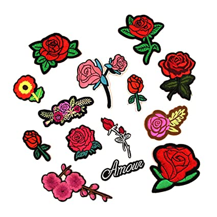 Amazon com: Jili Online 14 Designs Red Rose Flower Embroidery Patch