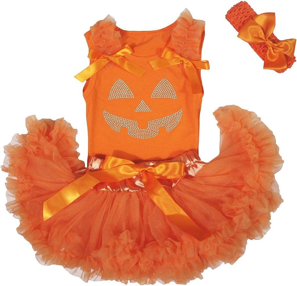 Petitebella Rhinestone Pumpkin Face Orange Shirt Orange Baby Skirt Outfit 3-12m