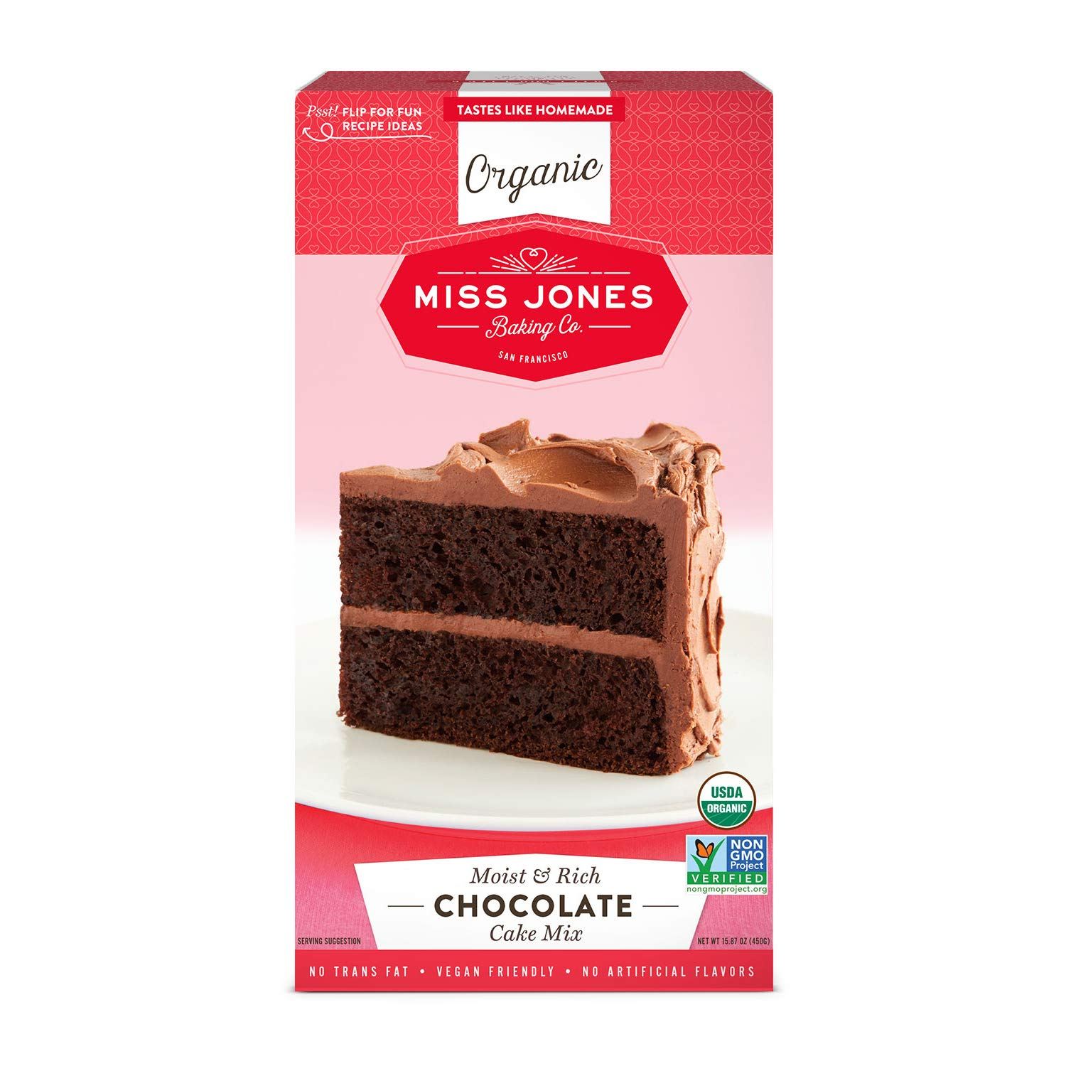 Miss Jones Baking Organic Cake and Cupcake Mix, Non-GMO, Vegan-Friendly, Moist and Fluffy: Chocolate (Pack of 1)