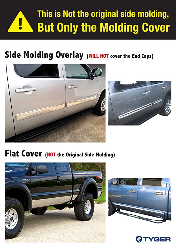 """99-04 Ford F-250//Super Duty Extended Cab 4Pc Body Side Molding Trim 3/"""" Overlay"""