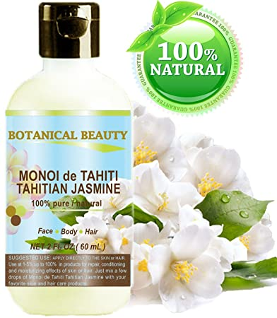 MONOI de TAHITI TAHITIAN JASMINE OIL 100 % Natural / 100% PURE BOTANICALS. 2 Fl.oz.- 60 ml. For Skin, Hair and Nail Care.