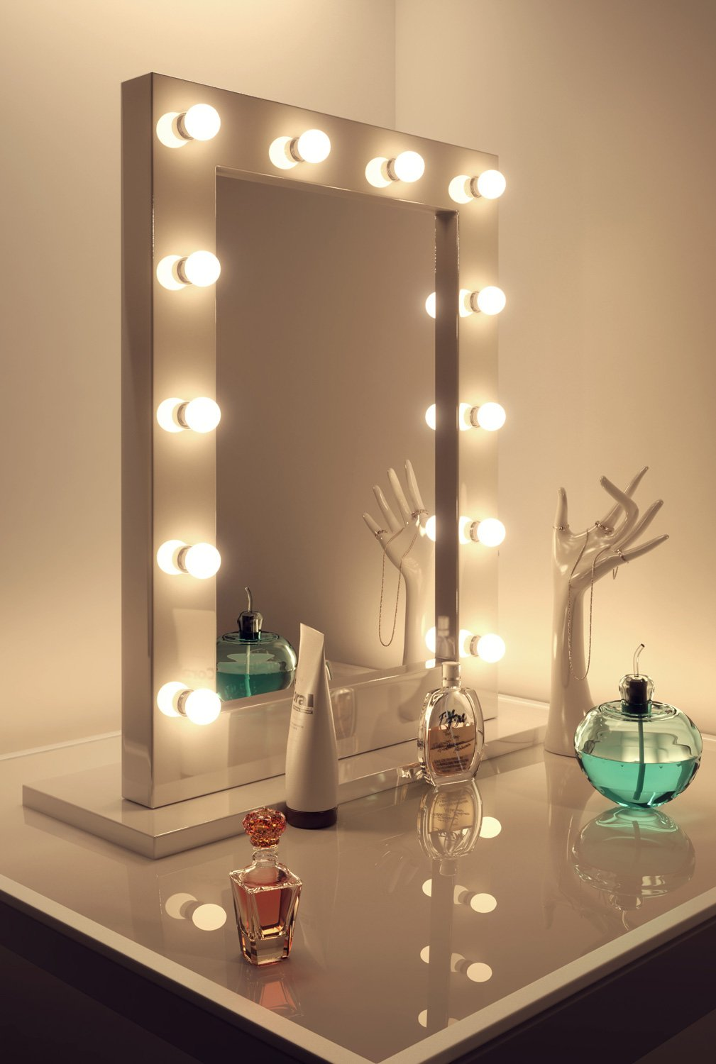Amazoncom High Gloss White Hollywood Makeup Mirror