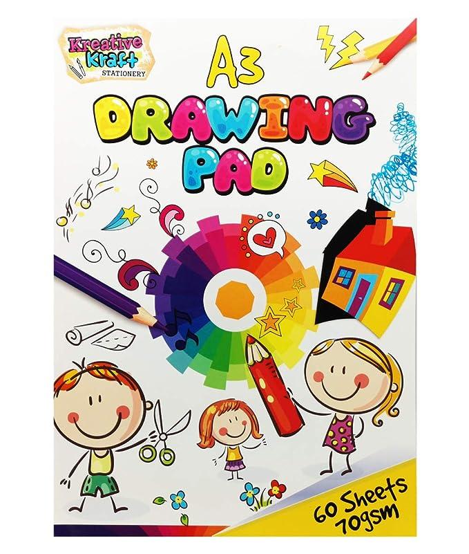 Bloc A3 para Adultos y Niños 60 Hojas para Colorear Dibujar y Escribir Cuaderno de Dibujo: Amazon.es: Hogar