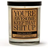 You're Awesome Keep That S Up, Kraft Label Scented Soy Candle, Huckleberry, Lemon, Vanilla, 10 Oz. Glass Jar Candle…