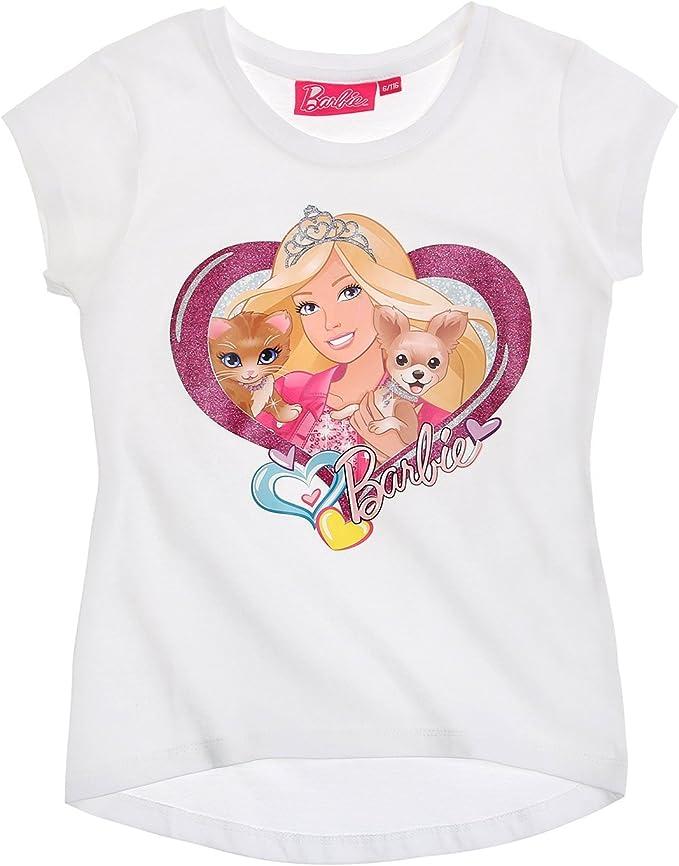Barbie - Camiseta de manga corta - para niña Blanco blanco 8 años: Amazon.es: Ropa y accesorios