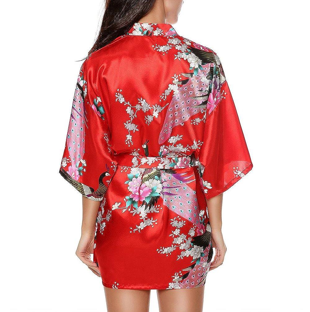 CHENGYANG Donna Vestaglie Scollo a V Kimono Corto Raso Pavone e Fiore Pigiama Camicia da Notte