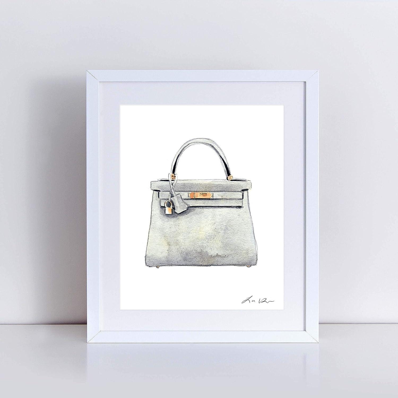 c0819a7862 Hermes Kelly Bag Gray Art Print Watercolor Painting Wall Home Decor Handbag  Fashion Illustration Fashion Art Vintage Preppy Pretty Canvas Unframed Gift  for ...