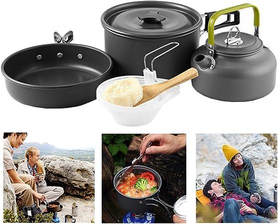Buycitky - Kit de utensilios de cocina para camping, accesorios de cocina, ligeros y antiadherentes, para camping con bolsa de malla para actividades ...