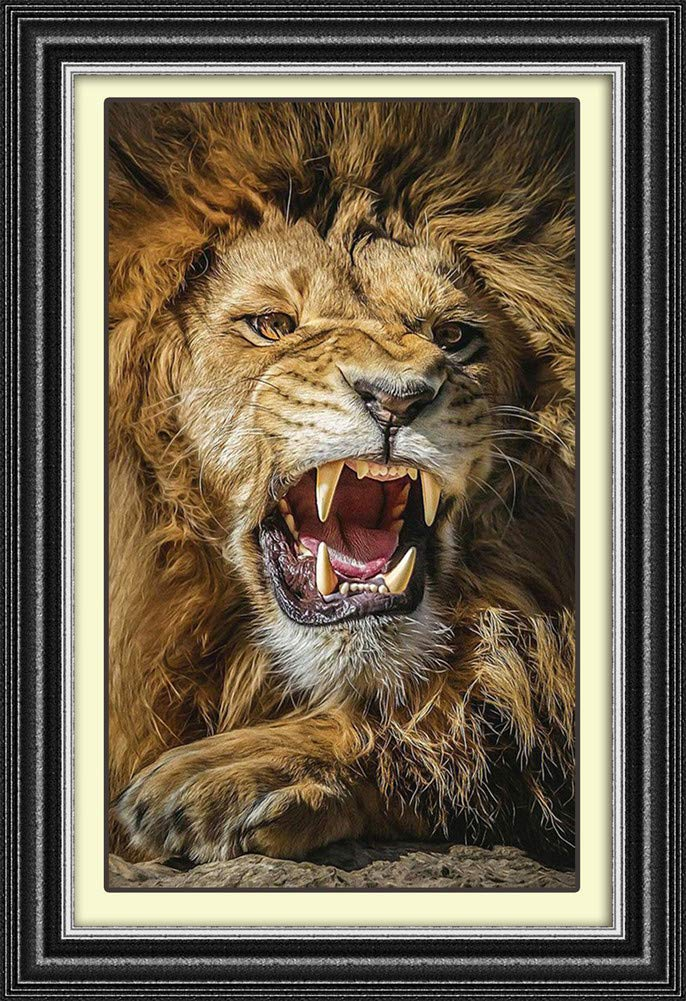 DIY Handwork Store Full Round Diamond Painting Kits by Numbers DIY Lion Animal Mosaic Cross Stitch Velvet Canvas Handmade Art Craft Gift Embroidery Wall Decor 15.75x 23.62