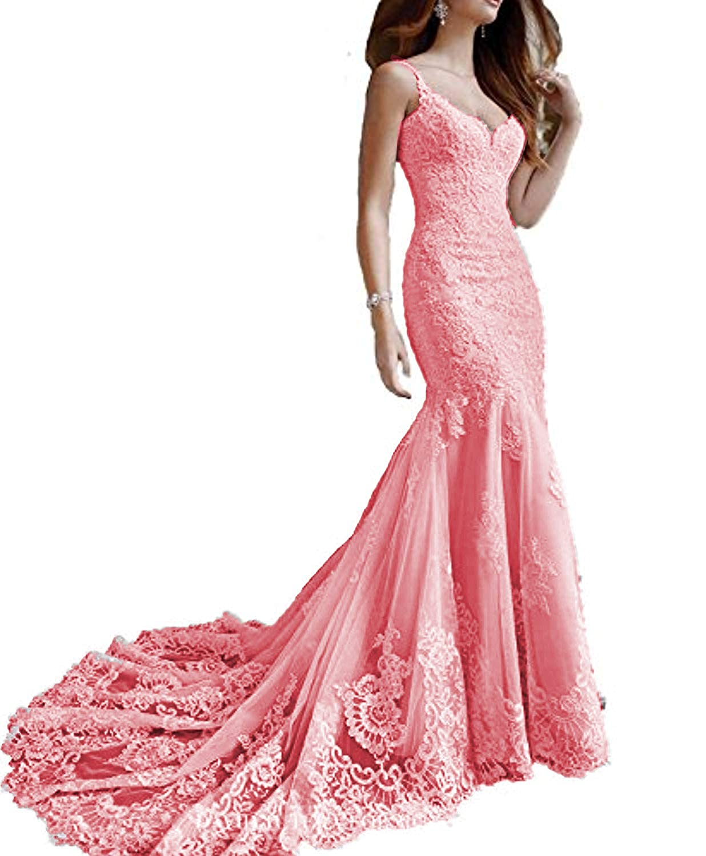 Watermelon Marirobe Women's Mermaid Lace Applique Formal Dresses V Neck Backless Wedding Dresses Sleeveless Evening Dresses