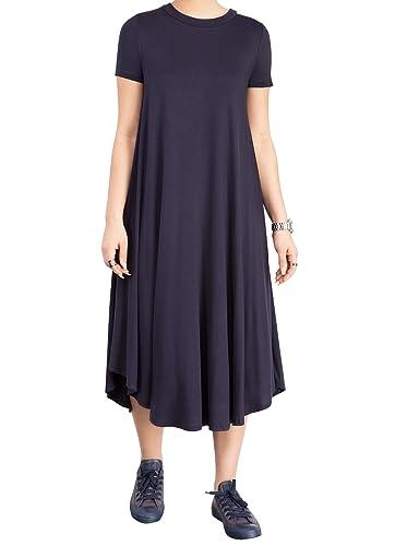 YouSun Women's Summer Casual Short Sleeve Round Neck Loose A-line T-Shirt Dress
