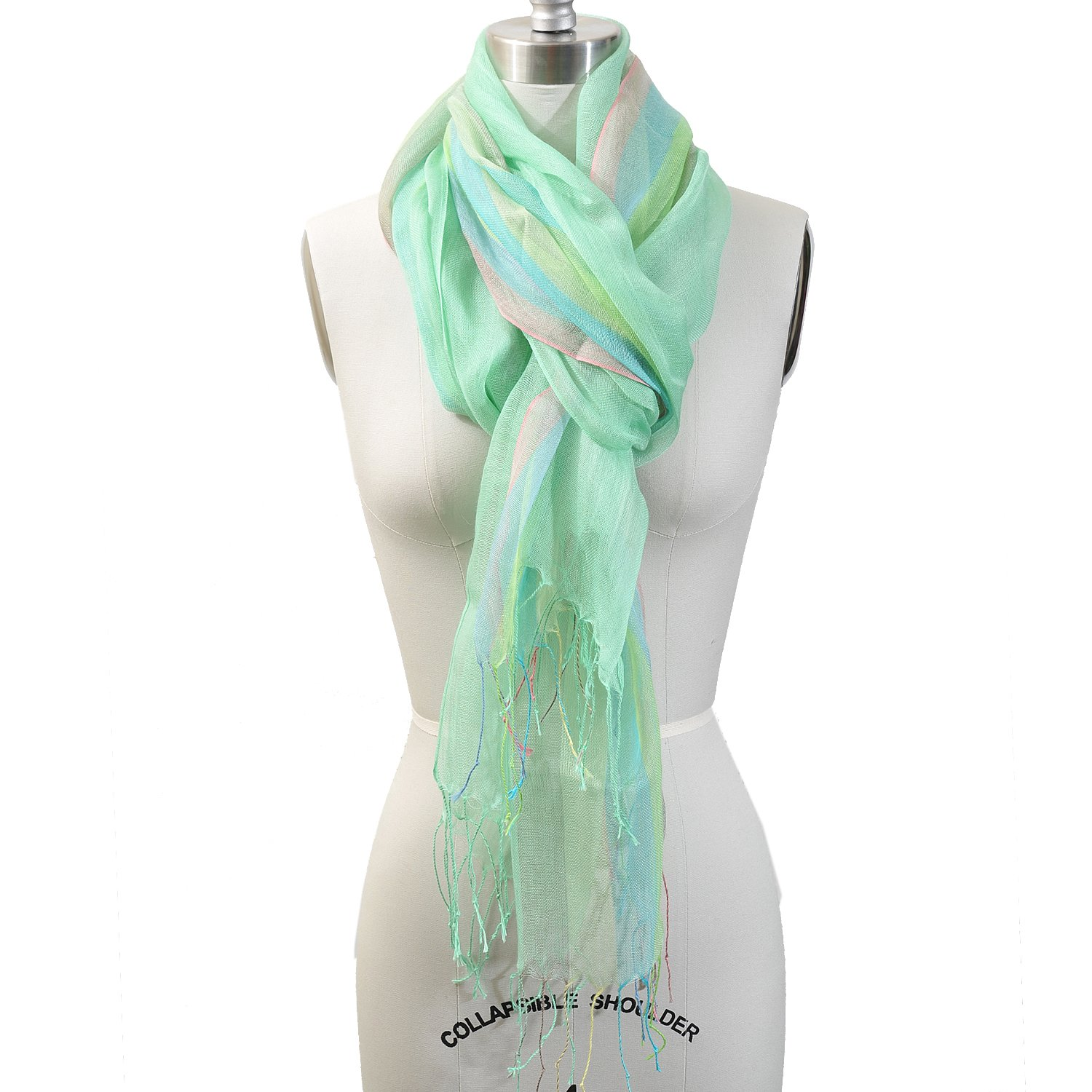 HUE21 Women's Pastel Tone Color Long Stripe Scarf Green Tone