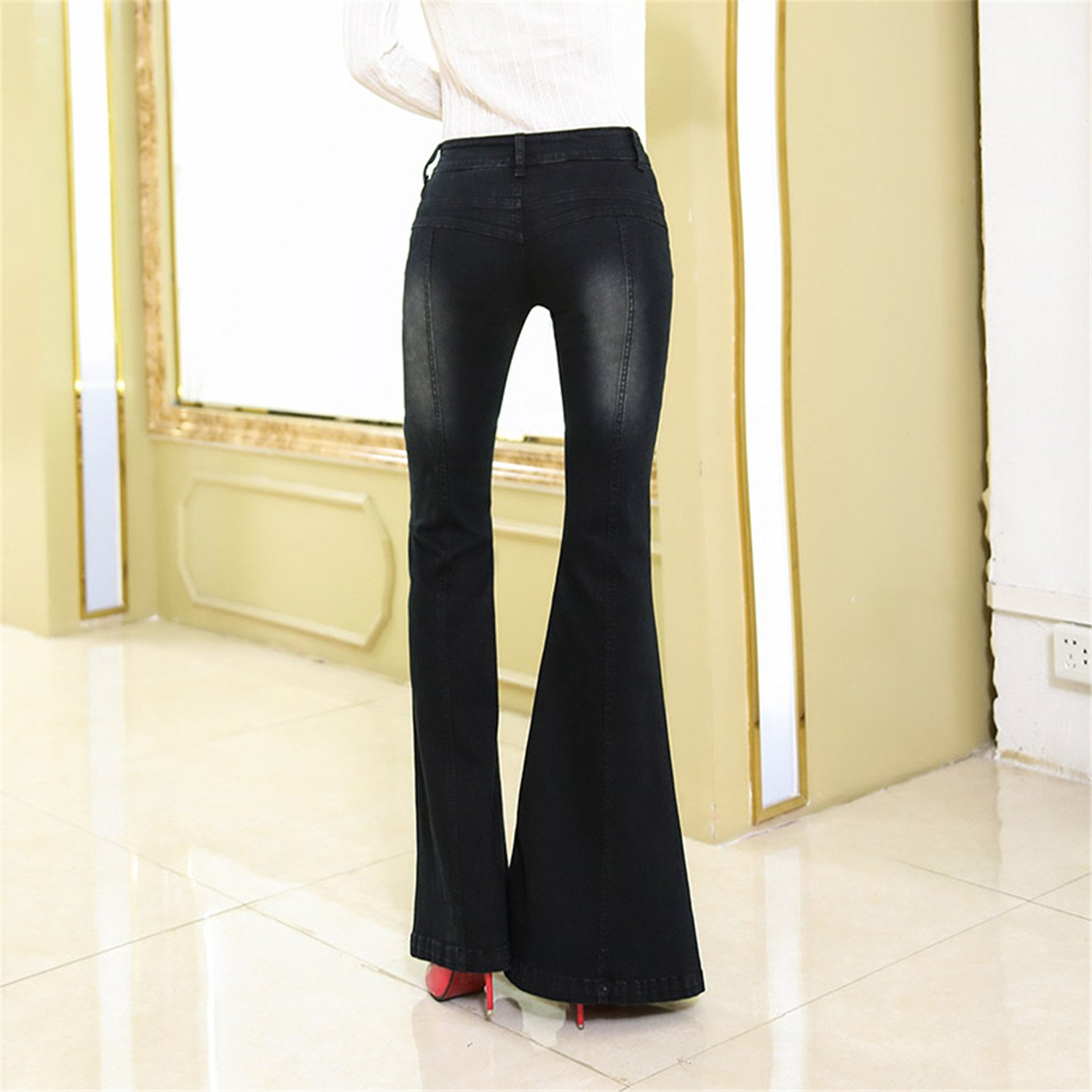 Vilma Reynoso Stretch Elastic Black Flare Jeans Women Long Stretching Bell-Bottoms Jeans Plus Size