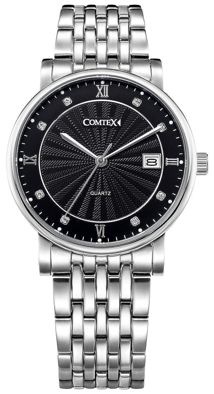 Comtex Herren-Armbanduhr Schwarz Ton Analog Quarz Edelstahl Kalender Kleid Armbanduhr
