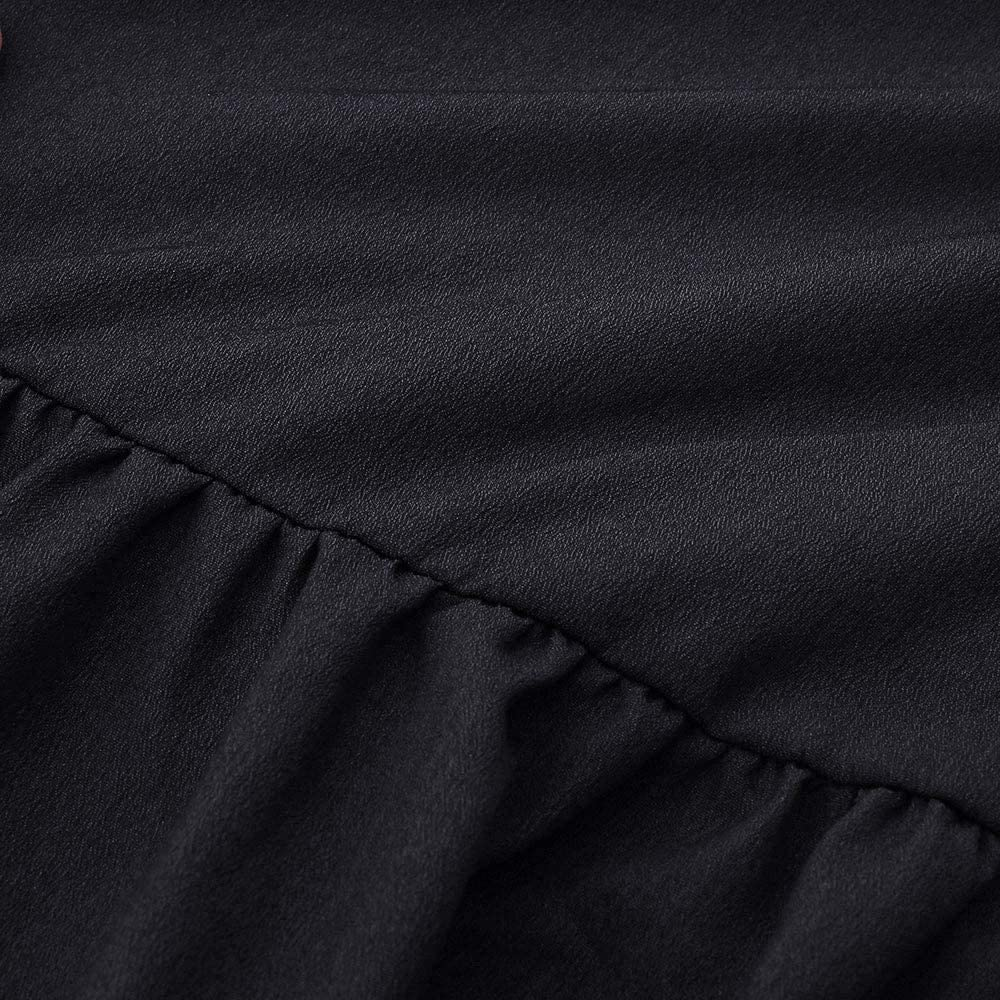 M, Black TIANRUN Women Solid Lantern Long Sleeve V-Neck Draped Loose Fit Pleated Hem Knee-Length Dress