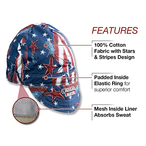Lincoln Electric Welding Cap| Mesh Inside Liner | All American Print |K3203-ALL (Limited Edition) - - Amazon.com
