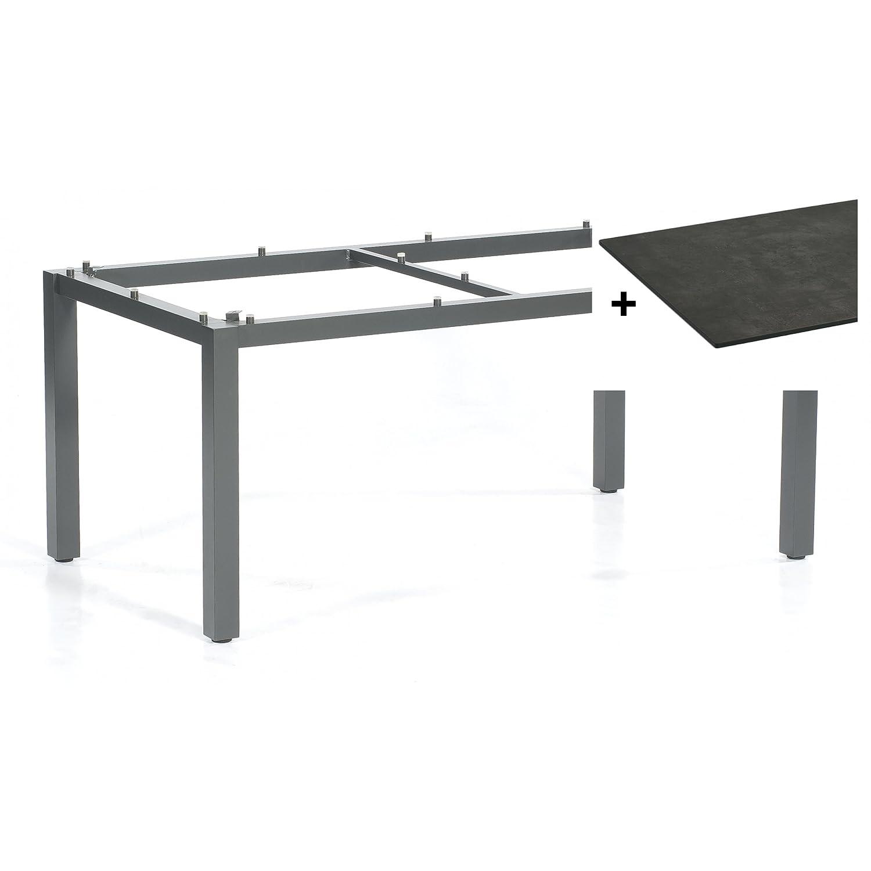 Sonnenpartner Tisch Base Gestell Alu anthrazit Platte HPL beton dunkel 160x90cm