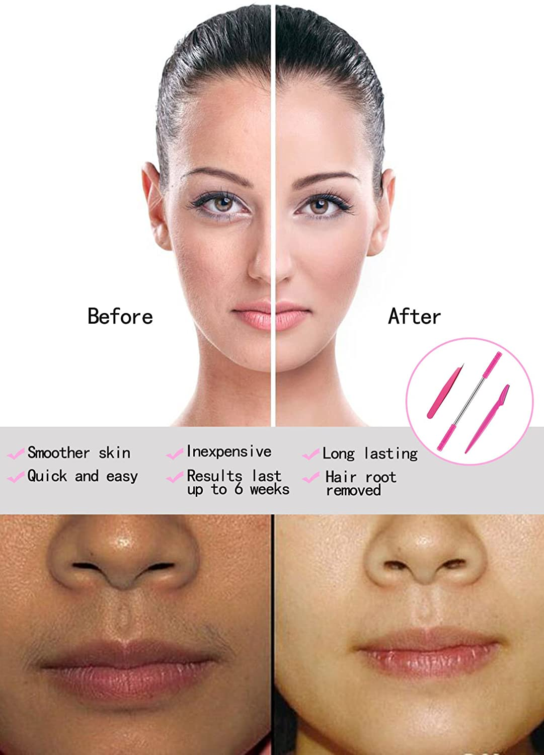 Hair Removal Spring, Kapmore Threading Hair Removal Removes Hair on the  Upper Lip, Chin, Cheeks