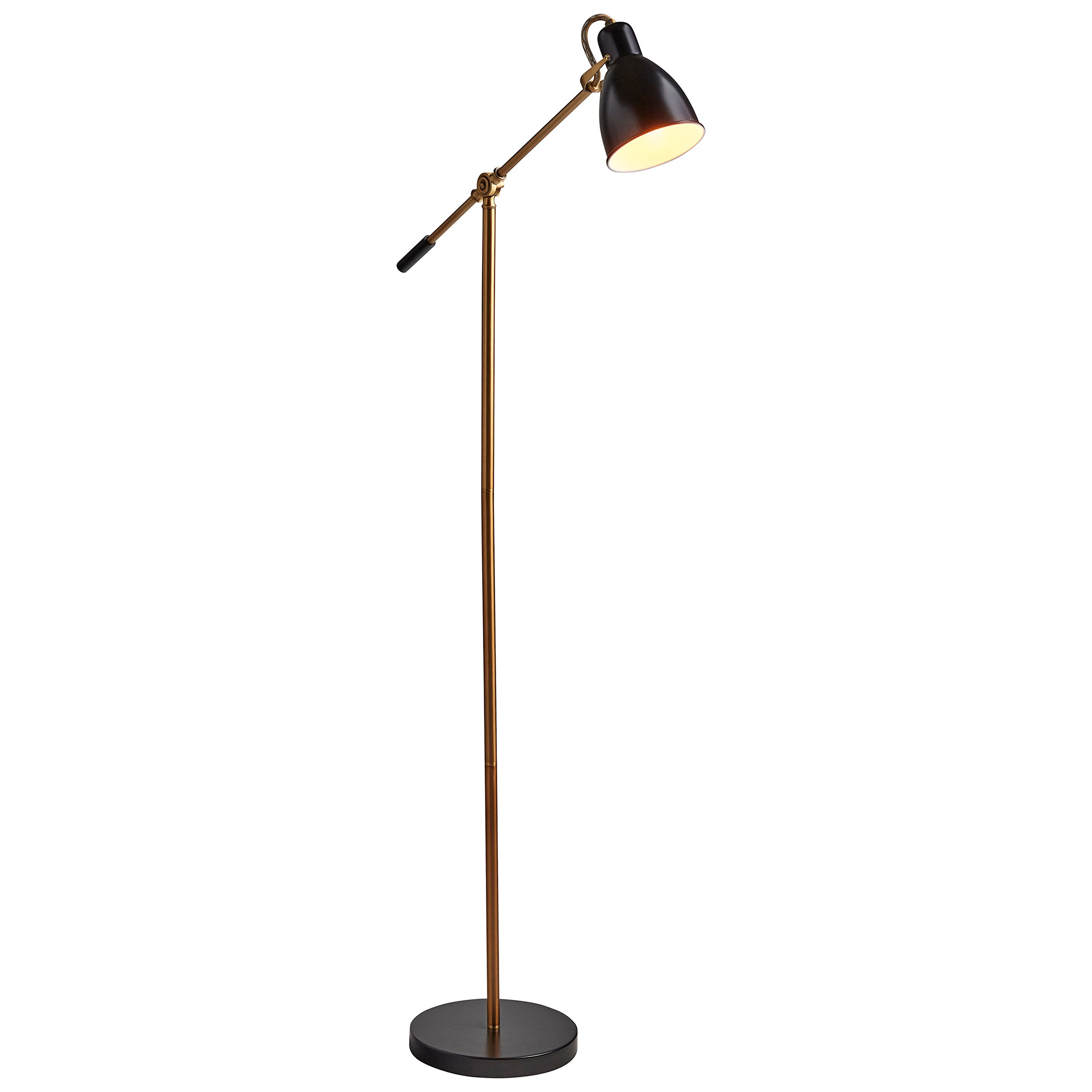 Rivet Caden Adjustable Task Floor Lamp with LED Bulb, 60''H, Black and Brass by Rivet (Image #8)