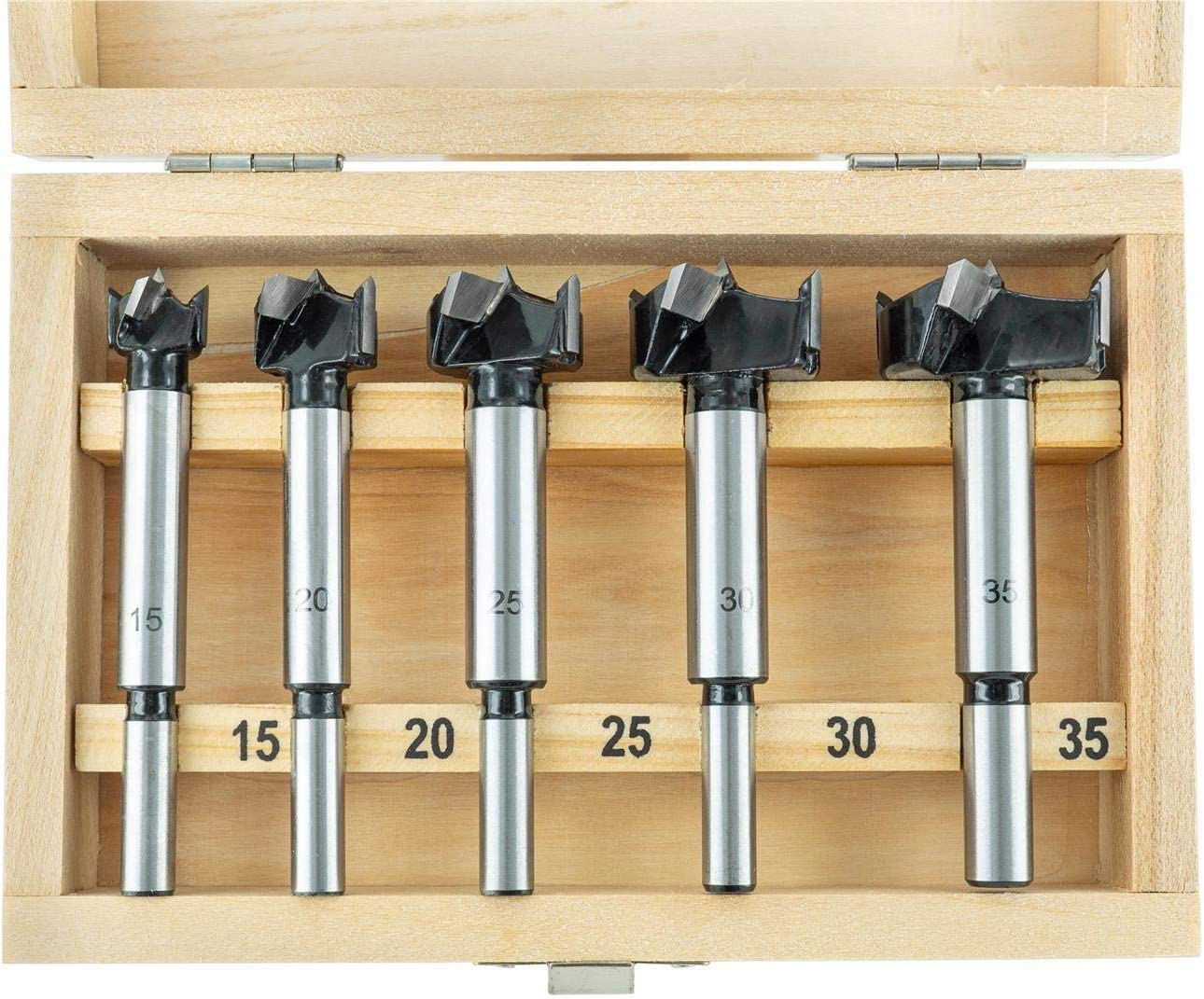 15 20 25 30 35 mm 10 mm STIER Forstnerbohrer Set in Holz Kasette 5 teilig