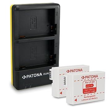 PATONA Dual Cargador LP-E8 + 2x Batería para Canon EOS 550D | 600D | 700D con micro USB