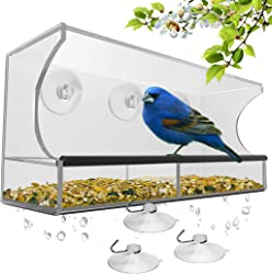 Window Bird Feeder with Removable Tray