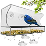 Best Window Bird Feeder with Strong Suction Cups & Seed Tray Outdoor Birdfeeders for Wild Birds Finch Cardinal Bluebird Large Outside Hanging Birdhouse Kits Drain Holes + 3 Extra Suction Cups