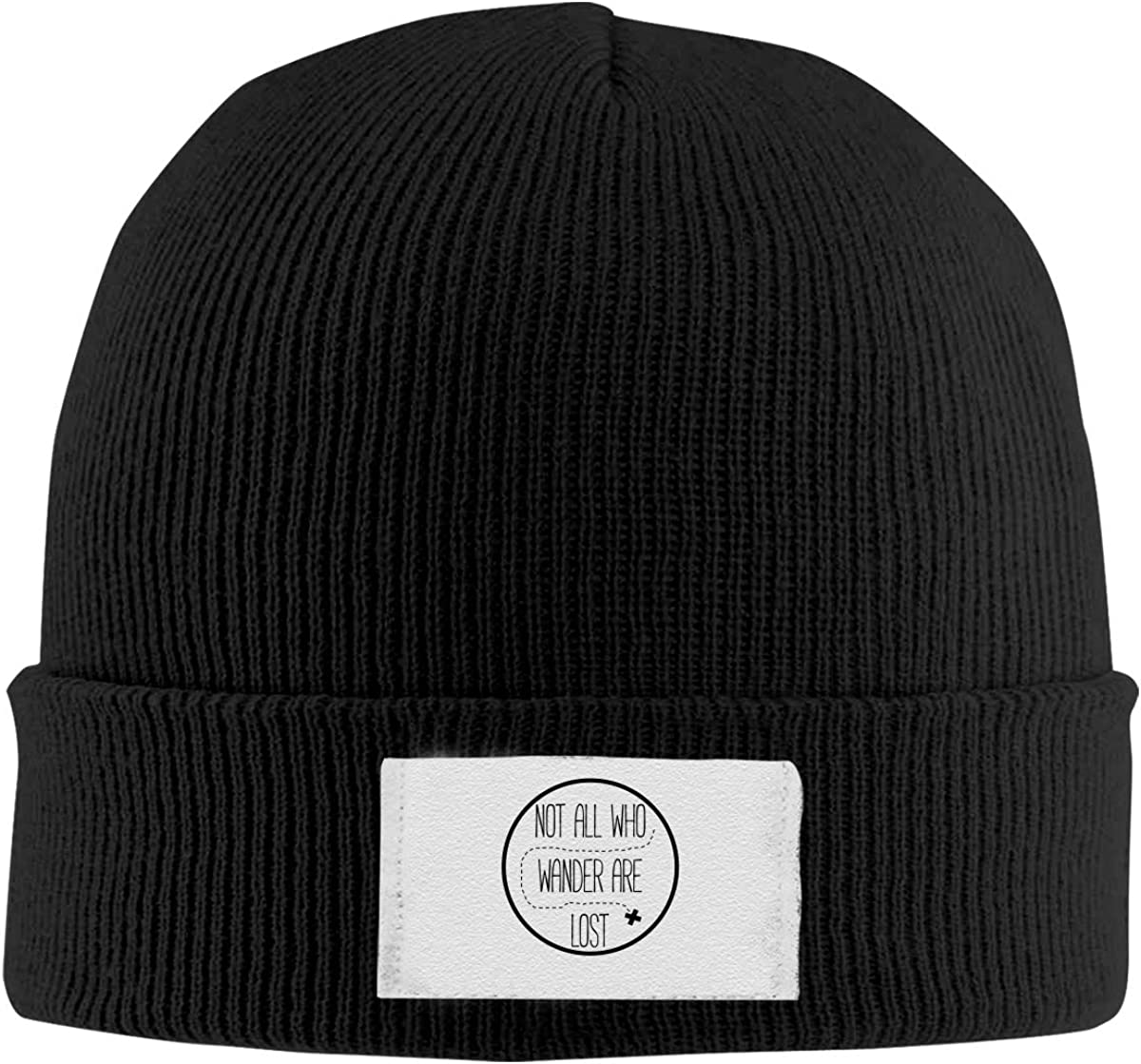 Stretchy Cuff Beanie Hat Black Skull Caps Not All Who Wander are Lost Logo Winter Warm Knit Hats