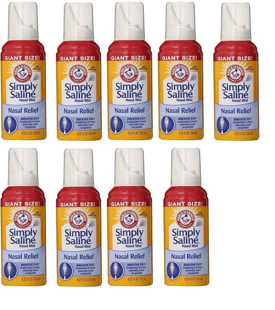 Arm & Hammer Simply Saline Nasal Relief Mist Spray- Giant Size - 4.25 FL OZ Per Bottle (9 Bottles)