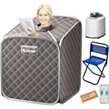 COSTWAY Portable Folding Steam Sauna Tent, Full Body Personal Home Spa for Weight Loss, 9 Adjustable Temperature Levels…