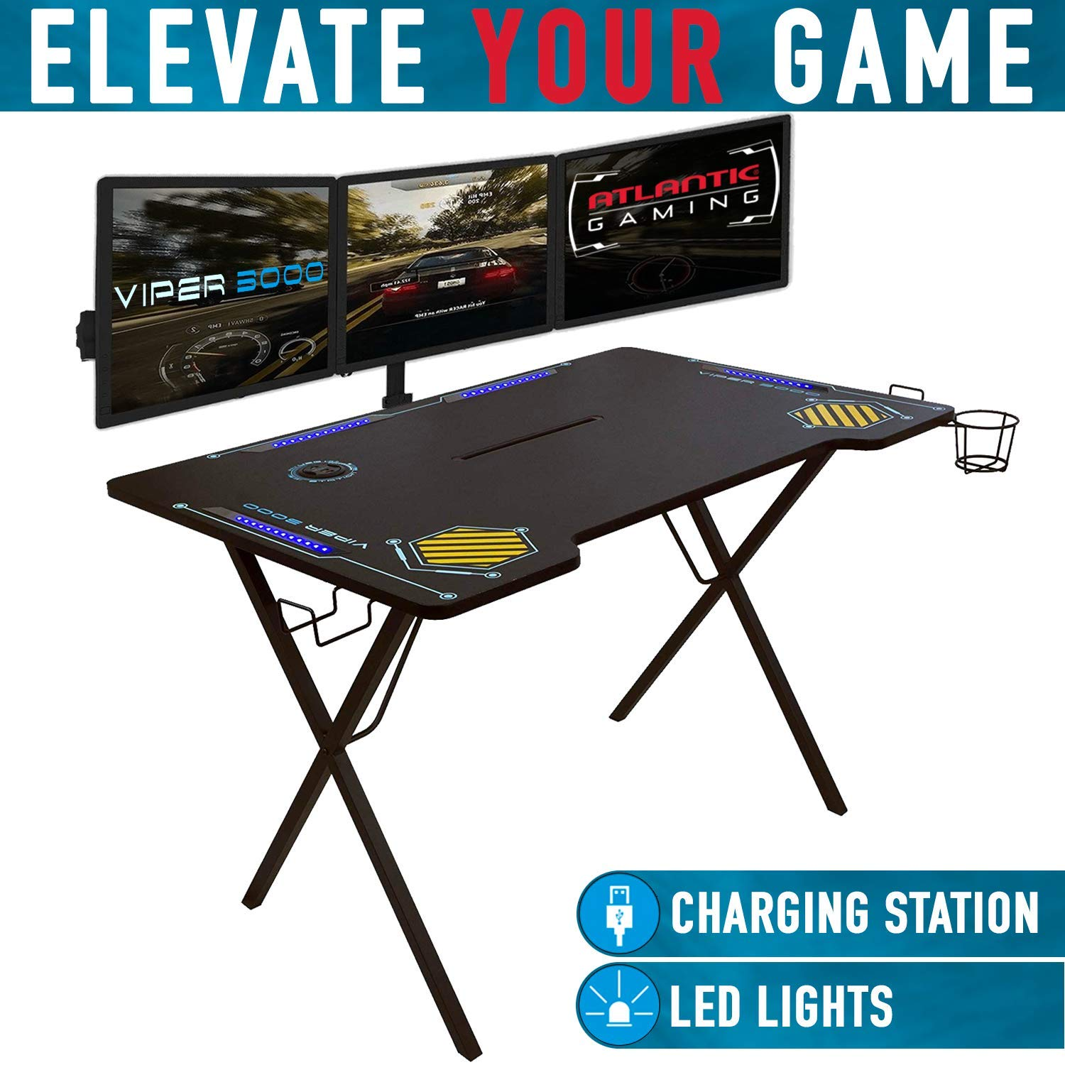 Atlantic Gaming Desk Viper 3000 - Computer Gaming Desk, LED Illumination, Three USB 3.0 Ports, Tablet/Phone Slot, Cup Holder, Dual Headphone Hooks, Storage Tray, Satin Finish Surface, PN33906164 by Atlantic
