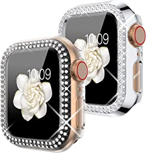 Goton Compatible for Apple Watch Case 38mm , (2 Packs) Women Girls Bling Crystal Hard Watch Face Cover Screen Frame Protector Cover Bumper Case for iWatch Series 3 / 2 / 1 (Silver+Clear)