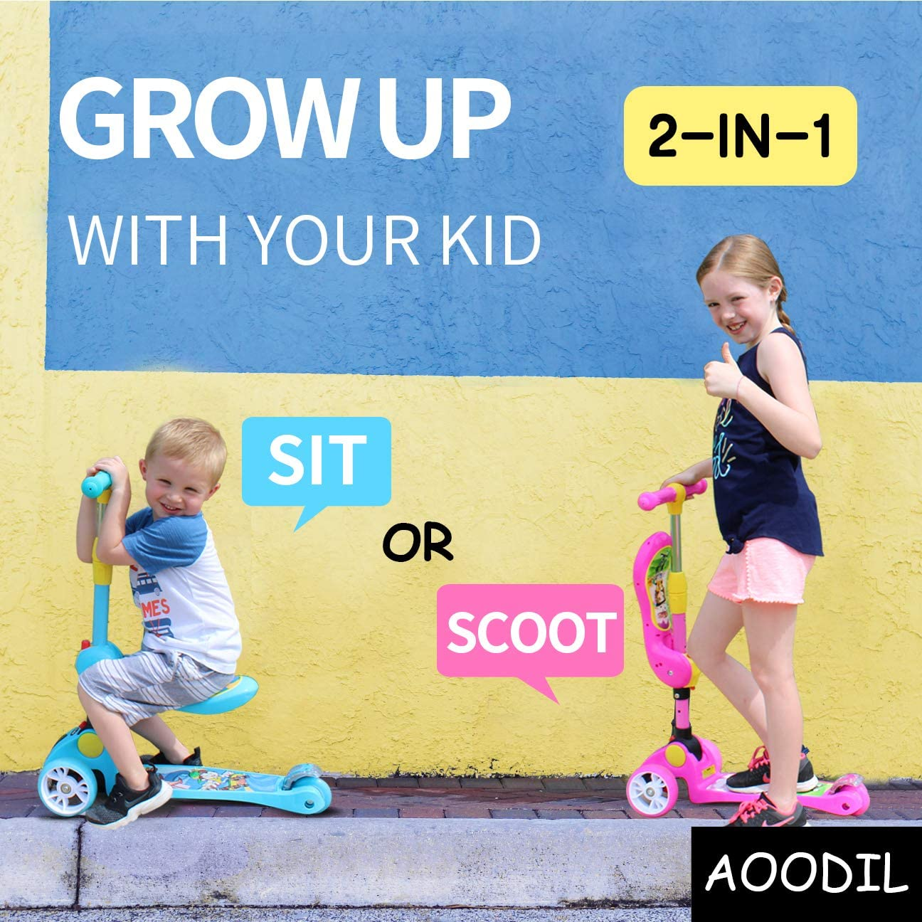 AOODIL 2-in-1 Kick Scooter for Kids Toddler 3 Wheel Scooter for Boys Girls Kids Scooter with LED Light Up Wheels Adjustable Height Folding Scooter for Children from 2 to 12 Years Old