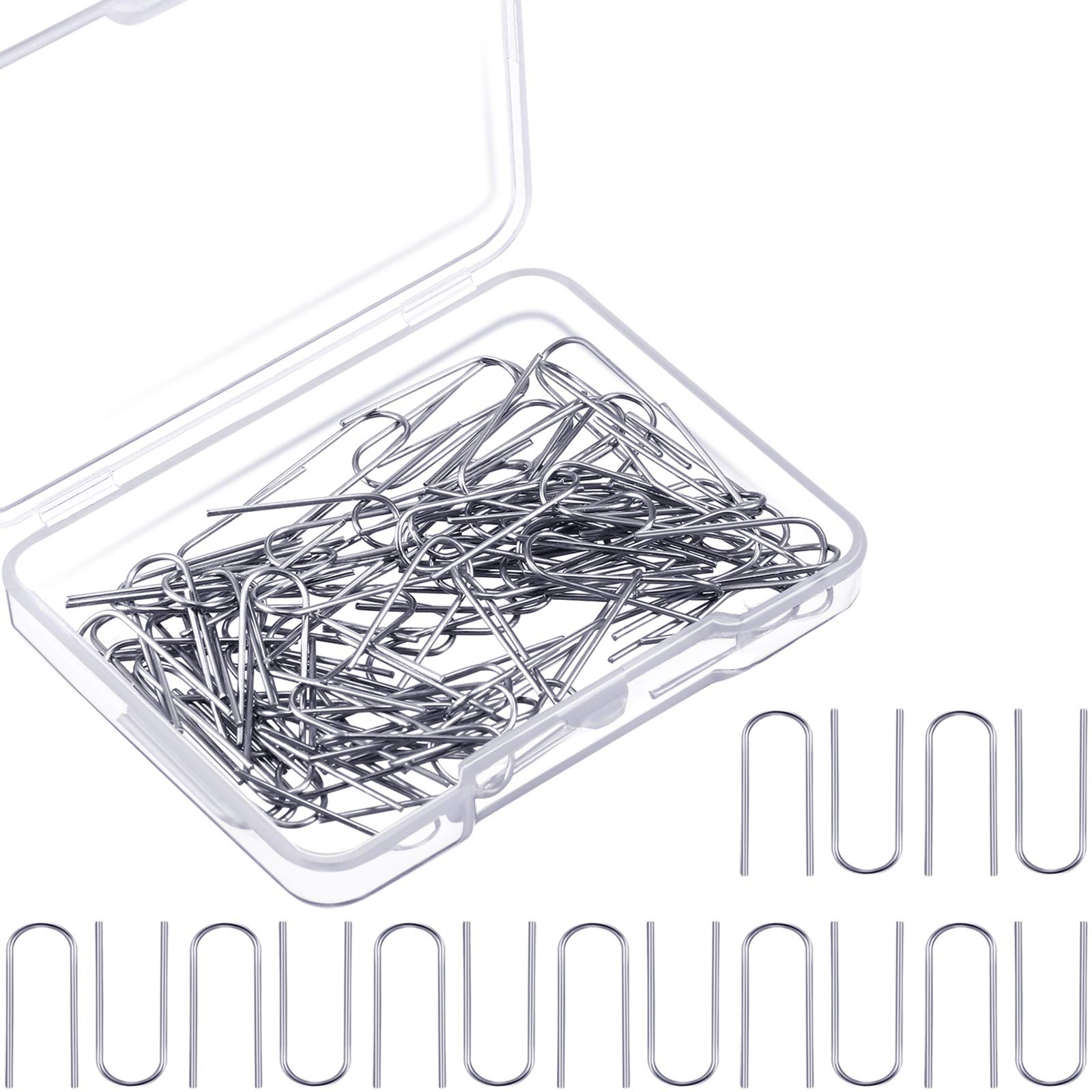 100 Pieces High Temperature Nichrome Wire Jump Rings, U Hanger Hooks for DIY Pendant, Ceramic Ornaments, Fusing in Glass, 21 Gauge with Plastic Storage Box