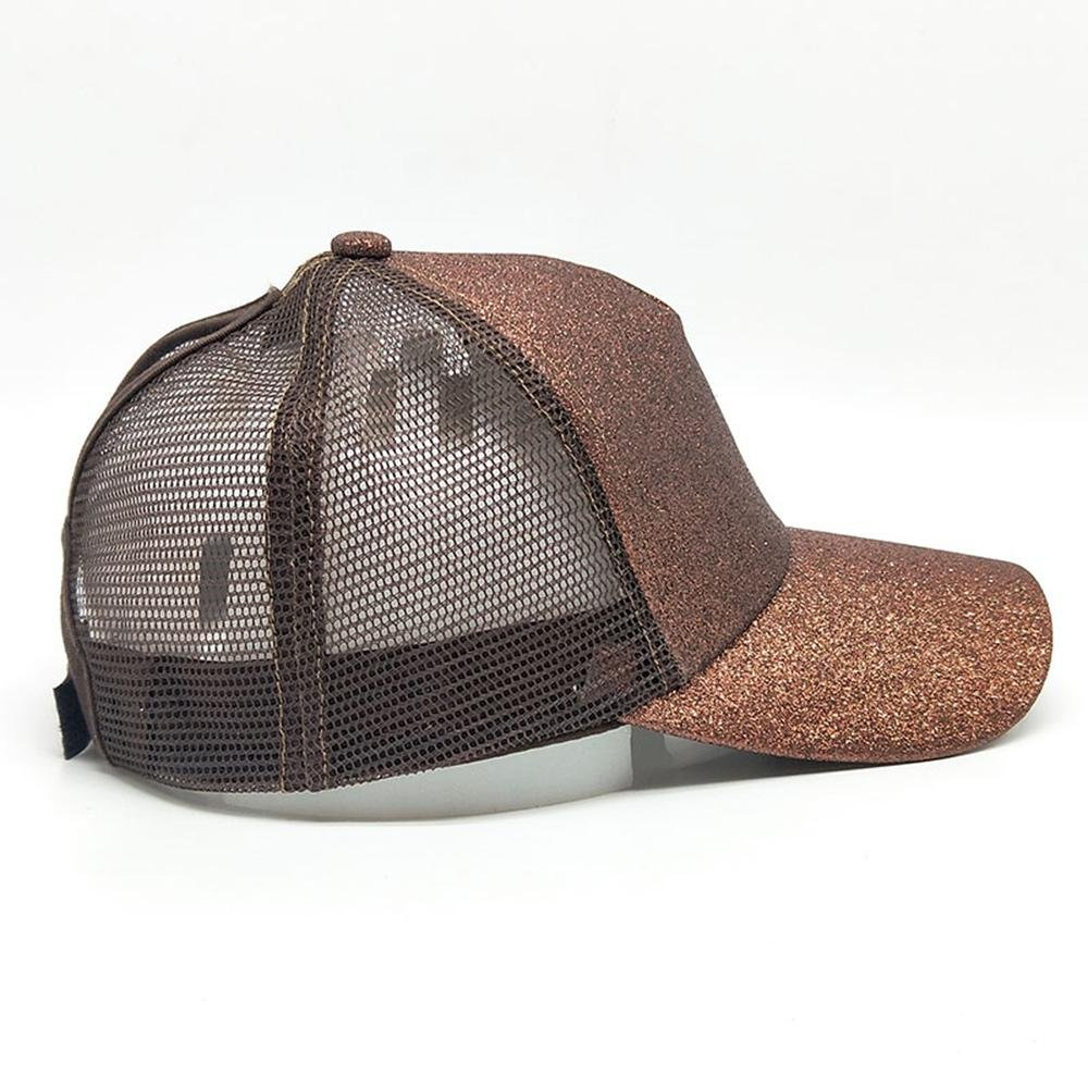72a84d39f Brown Ponytail Baseball Hat- Aolvo Personalized High Messy Bun Baseball Cap  Adjustable Flatbill Snapback Hat