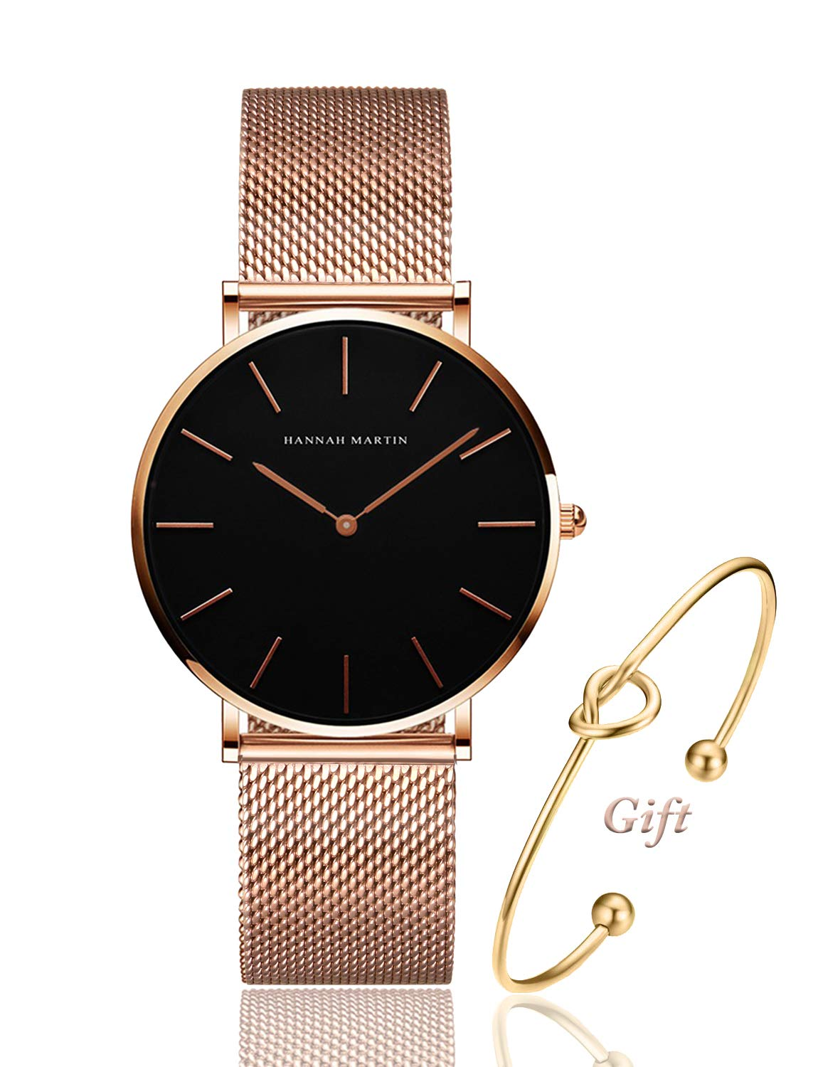 Women's Rose Gold Watch Analog Quartz Stainless Steel Mesh Band Casual Fashion Ladies Wrist Watches with Bracelet Gift (Black Dial)