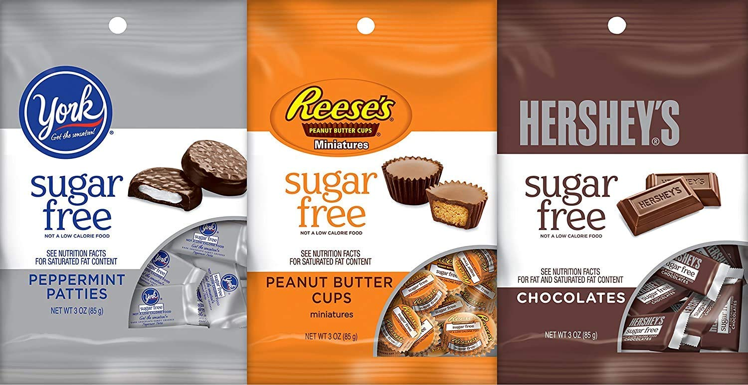 Hershey's Sugar Free Bundle of Reese's, York, and Hershey Chocolate 3 Ounce Bag (3 Pack)