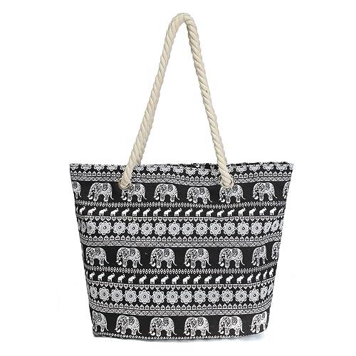 156a27dc0c1b Amazon.com: Nawoshow Canvas Fabric Elephant Pattern Beach Bag Rope ...