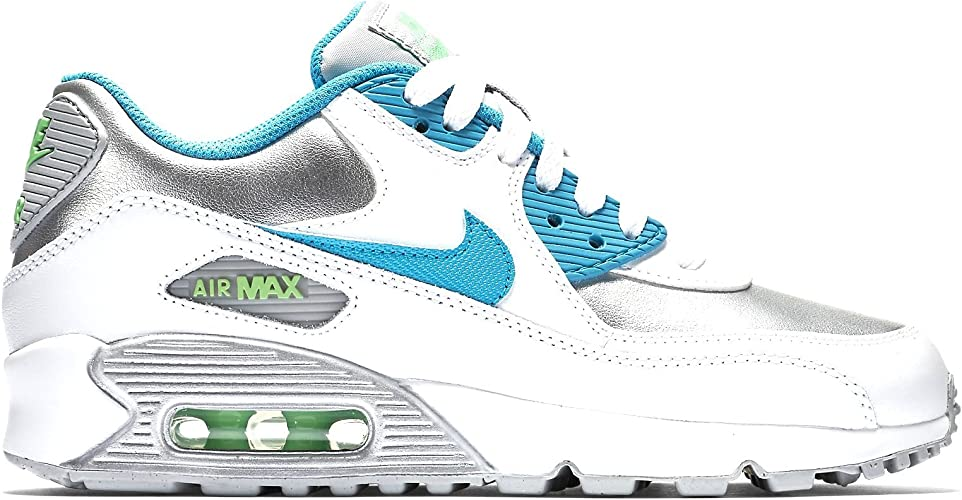 Nike Air Max 90 Leather (GS) WhiteMetalicSilverGrenBlue 724852 104