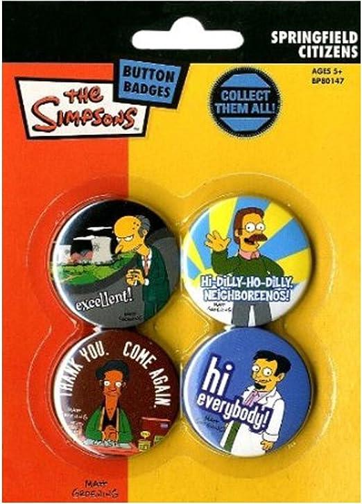 Los Simpson Chapas Pin Set (Pack de 4 Pins) - Springfield Citizens Pyramid International: Amazon.es: Hogar