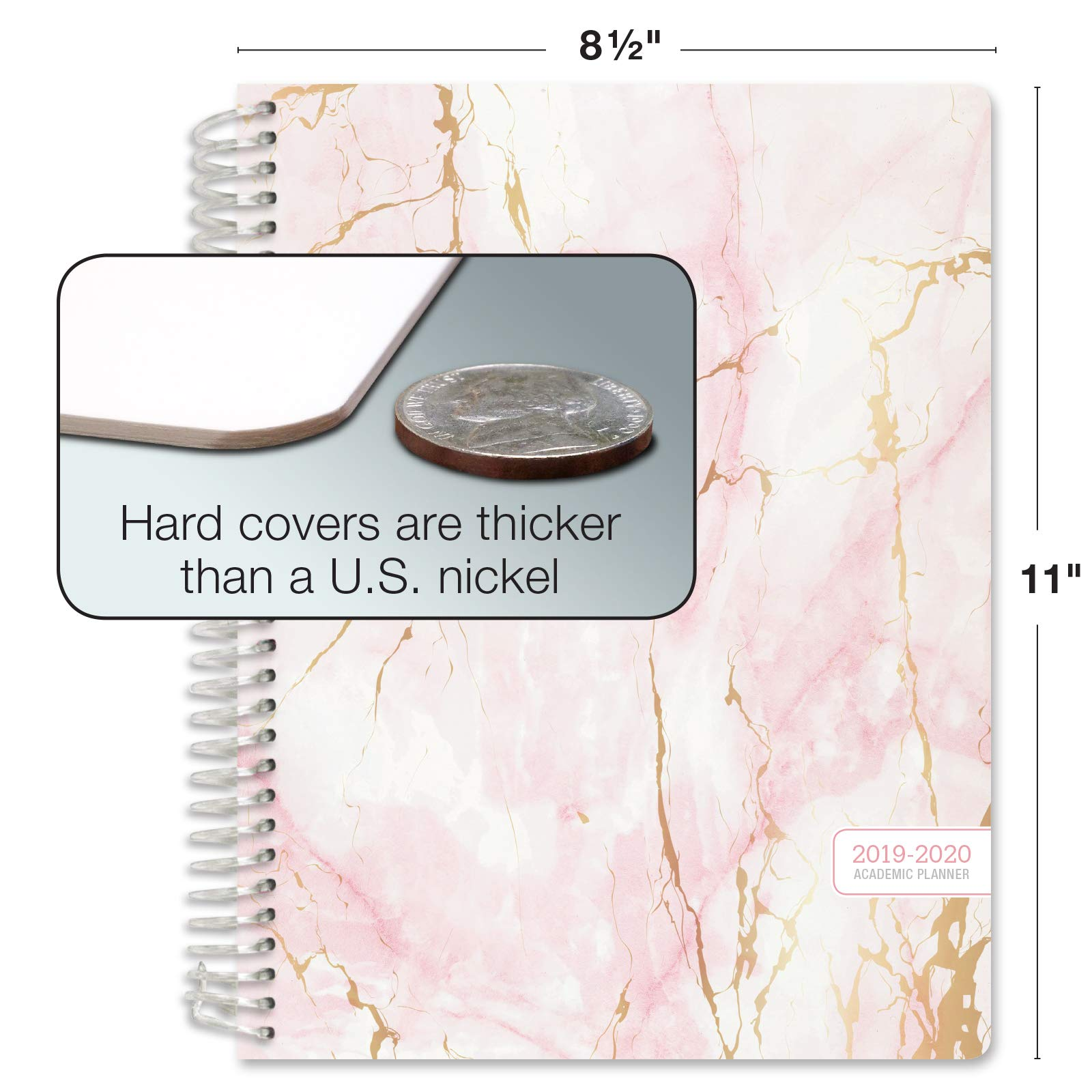 HARDCOVER Academic Year 2019-2020 Planner: (June 2019 Through July 2020) 8.5''x11'' Daily Weekly Monthly Planner Yearly Agenda. Bonus Bookmark, Pocket Folder and Sticky Note Set (Pink Marble) by Global Printed Products (Image #7)