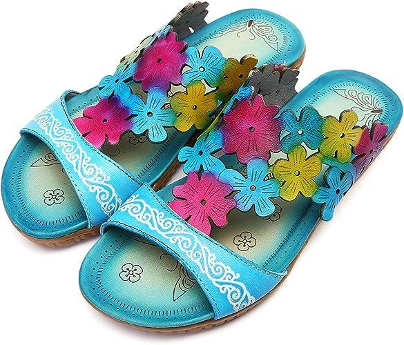 Gracosy Mules Cuir Femmes, Chaussures Été Compensées Sandales Plage Sabots à Talons Plateformes Semelle Confortable Eté Tpngs Originales pour Pieds
