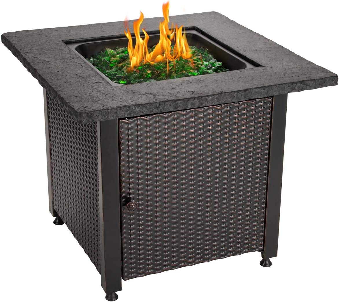 Blue Rhino Outdoor Propane Gas Fire Pit with Rock Top and Green Fire Glass – Add Warmth and Beauty to Your Backyard