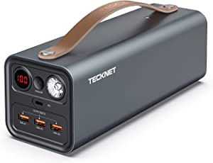 TECKNET Portable Laptop Charger , 42000mAh/155Wh , 110V/150Watt AC Oulet (Peak 300W) Pure Sine Wave , PD 45W, QC 3.0 USB Ports Laptop Power Bank, Emergency Power Station Battery Backup for Home Outdoor Travel Camping RV Adventure