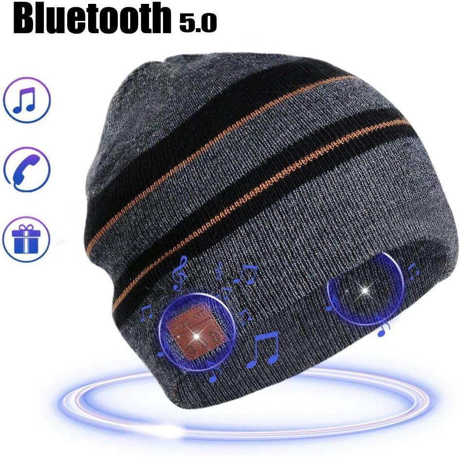 Bluetooth Beanie Hat Gifts for Men Kids Husband Teens Boy Warm Bluetooth Beanie Stocking Stuffers for Men Winter Music Hat with Stereo Headphones Stripe, Men